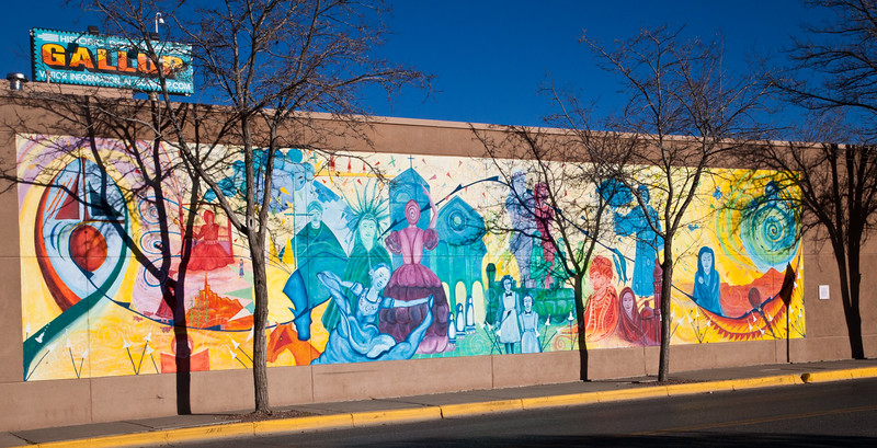 A wall mural on the Children's Library in downtown Gallup, New Mexico.  The downtown area has been fixed up and remodeled so it is a very pleasant area.  There are several murals in the newly improved downtown area.