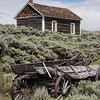 Schoolhouse and Old Wagon, South Pass City Historic State Park, Wyoming