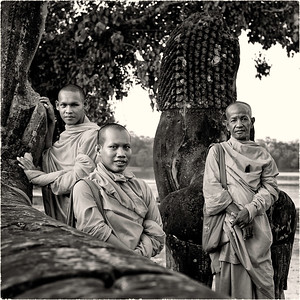 "Monochrome52    Week # 39	""The Monks of Angkor Wat""	  A contribution for +Monochrome 52  curated by +Shane Raynard & +Linda Villers    © 2012 Performing Images Photography by Pat Corlin  All Rights Reserved    www.PatCorlinPhotography.com  #Monochrome52   #PerformingImagesPhotography   #AngkorWat    #Cambodia   #TGLCambodia   #Monks   #TheGivingLens"