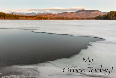 """""""My Office Today""""  Chocorua Mountain and Lake, White Mountain National Forest, Albany, NH, USA  A dawn view of Chocorua Mountain Peak as seen from Chocorua Lake in the beautiful What Mountain National Forest, in Albany, New Hampshire and is the eastern most peak of the Sandwhich Mountain Range in the White Mountain National Forest.  Mount Chocorua has an elevation of 3,490 fe (1,064 m) and is a favorite destination for hikers. The summit is bare rock and the hikes are rather challenging. The 360 degree view at the summit is worth the effort!   Taking advantage of the unseasonably warm temperatures all over New England this weekend, I left my home at 3am with all my gear and met up with fellow photographer Kim Keyes to spend a good three hours shooting stars, pre-dawn and sunrise shots of the lake and mountain. It was rather unsettling to hear the thunderous cracking sounds in the dark as the ice melted in the January thaw.   Looks like we got there just in time as snow and plummeting temperatures return to New Hampshire tomorrow!   © 2013 Performing Images Photography by Pat Corlin All Rights Reserved  www.PatCorlinPhotography.com  #PerformingImagesPhotography #DawnOnSunday #MountainMonday #WinterWednesday  #ThirstyThursdayPics #LandscapePhotography"""