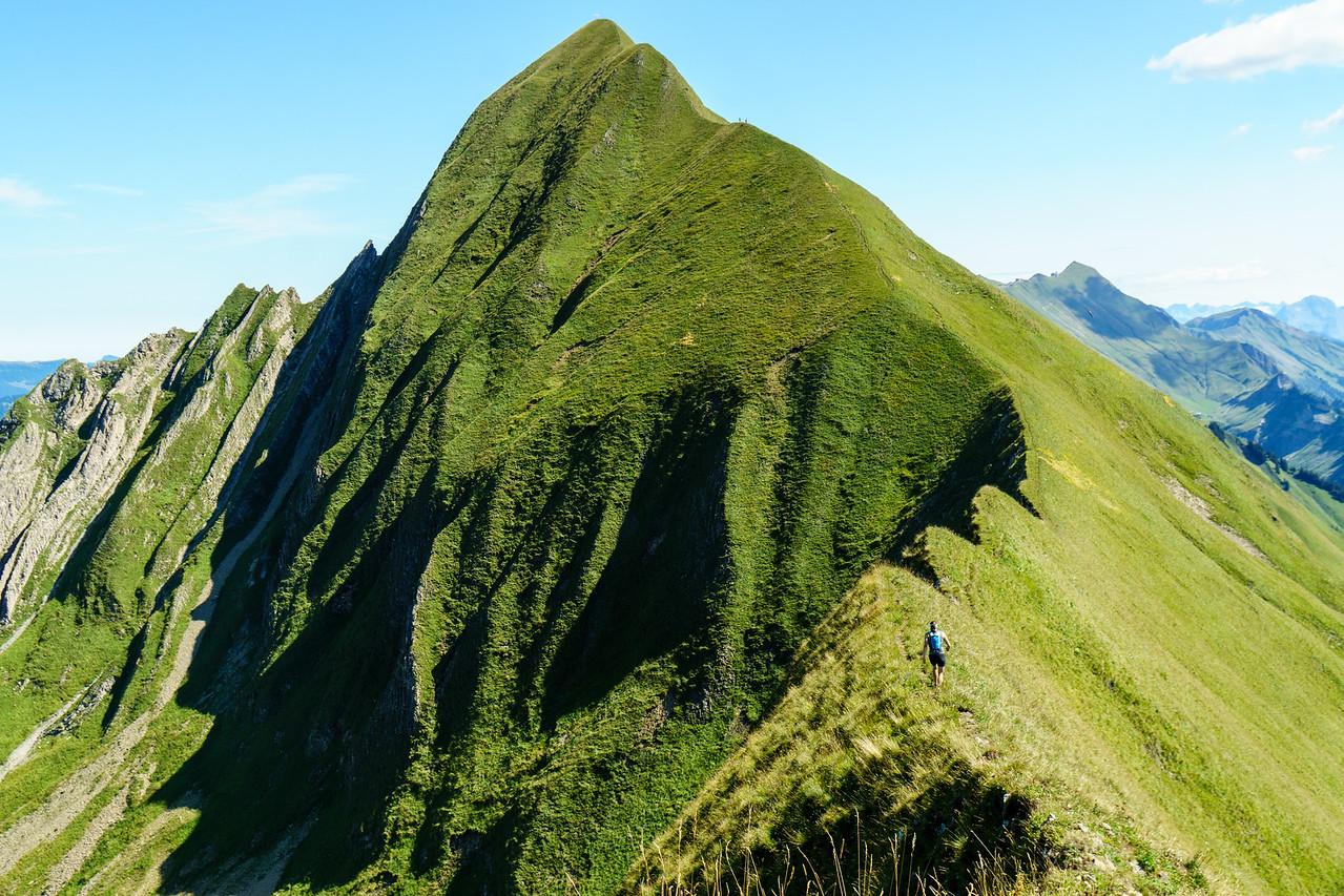 Daphnee Tuzlak on the home stretch of the Hardergrat hike from Interlaken to Brienz in Switzerland.