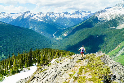 Daphnee Tuzlak enjoying some early summer ridge running in Rogers Pass, Canada.