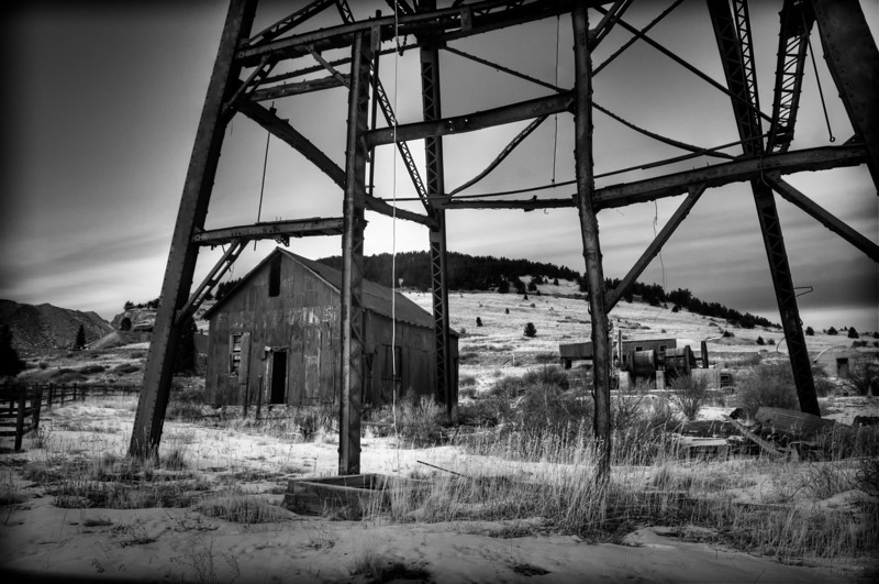 The head frame showing bent steel from a fire at the Vindicator Gold Mine in Victor, Colorado.