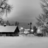 Late night at the Littleton Museum after a Spring snowstorm.