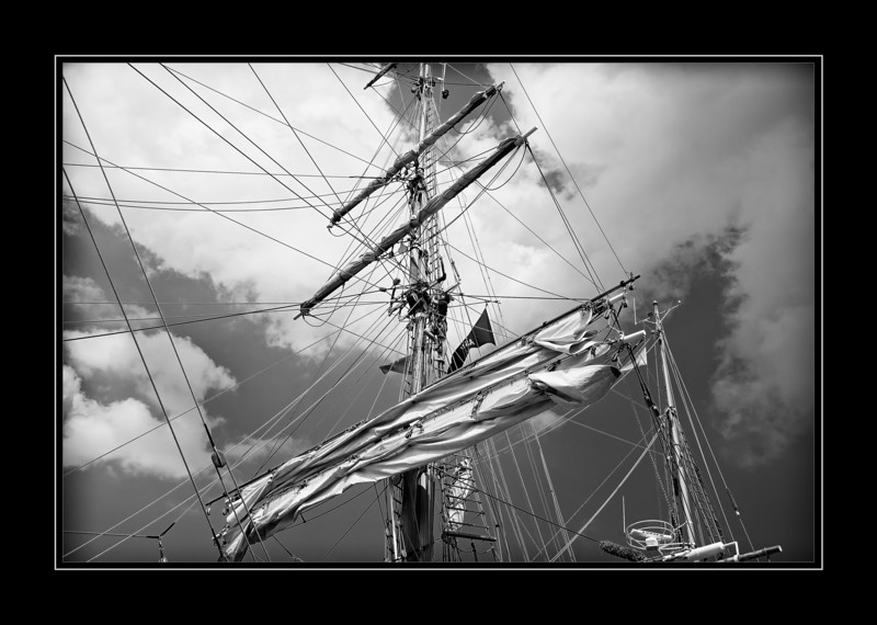 "Working on the mast of one of the ""Tall Ships"" while docked at Navy Pier in Chicago during their recent tour."
