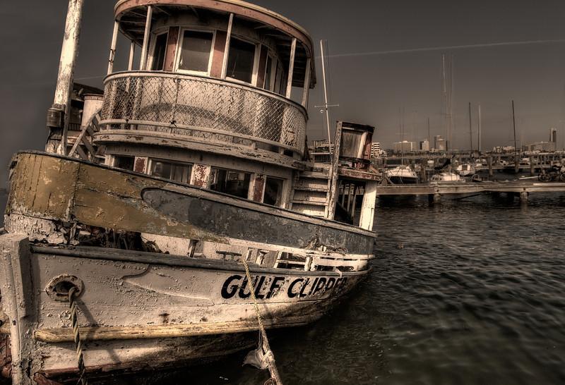 Well worn fishing boat in Corpus Christi Bay.