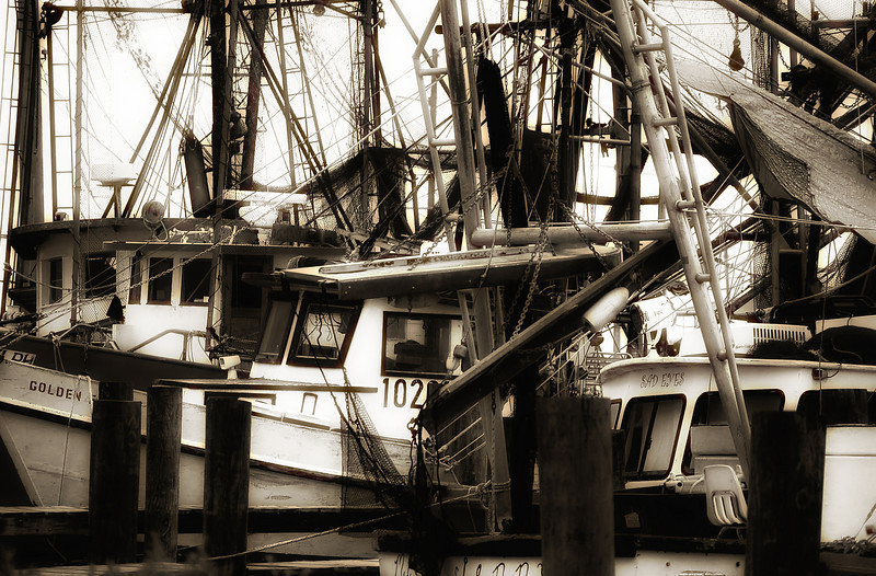 Shrimp boats docked in Hackberry, Louisiana