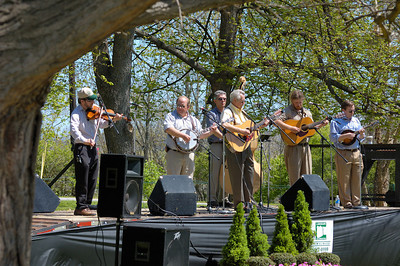 Stock image of a Bluegrass band entertaining the crowd at the International Kite and Culture Festival in Georgetown Kentucky USA