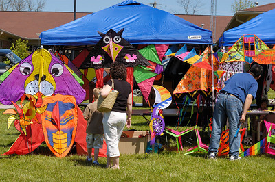 Stock image a colorful kite sales booth at the International Kite and Culture Festival in Georgetown Kentucky USA