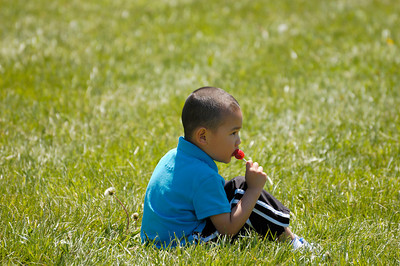 Stock image of young boy sitting in the grass and eating a lollipop at the International Kite and Culture Festival in Georgetown Kentucky USA