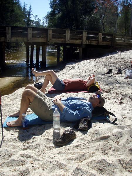 Bumpkin and Jeff napping, again along Juniper Creek.