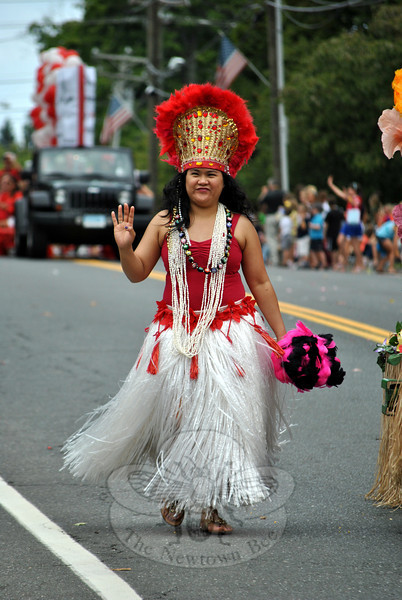 A Polynesian dancer at this year's Newtown Labor Day Parade. (Crevier photo)