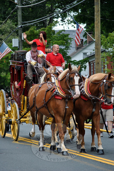 The Wells Fargo stagecoach at this year's Newtown Labor Day Parade. (Crevier photo)