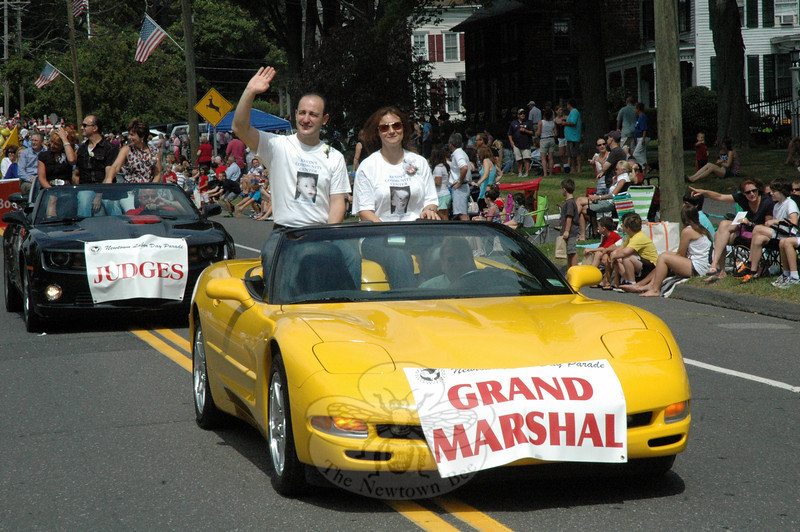 Dr Z. Michael Taweh and Jocelyn Taweh, founders of Kevin's Community Center, were this year's Newtown Labor Day Parade Grand Marshals. (Gorosko photo)
