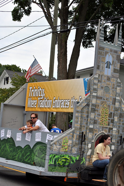 Trinity Episcopal Church's float in this year's Newtown Labor Day Parade. (Crevier photo)
