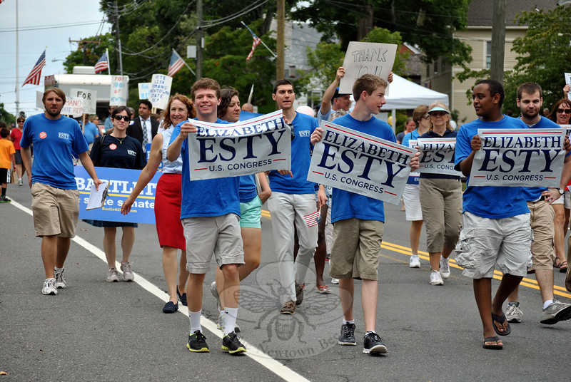 Democrat Elizabeth Esty's supporters at the Newtown Labor Day Parade. (Crevier photo)