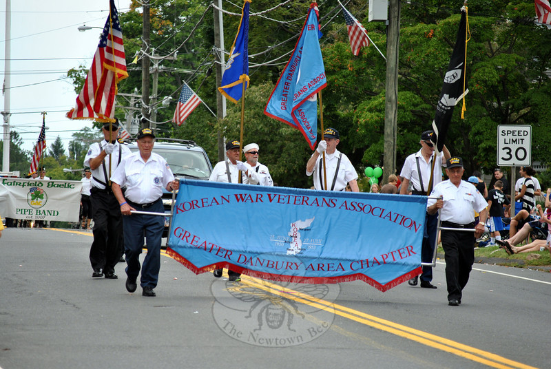 The Korean War Veterans Association of the Greater Danbury Area Chapter at this year's Newtown Labor Day Parade. (Crevier photo)