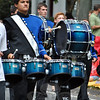 Newtown High School Marching Band drummers at this year's Newtown Labor Day Parade. (Crevier photo)