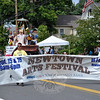 A reminder at the Labor Day Parade for the upcoming Newtown Arts Festival. (Crevier photo)