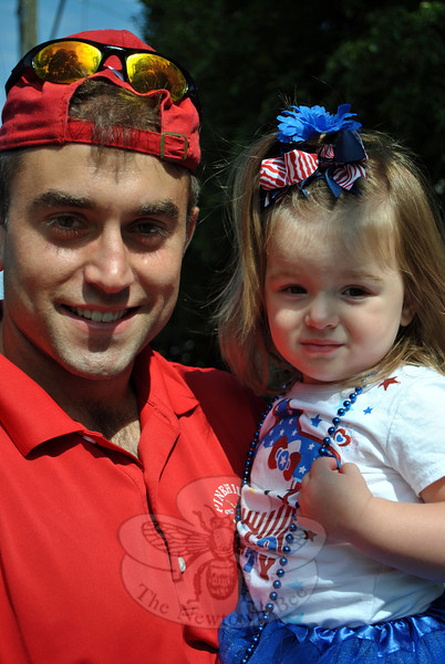 Matthew Saunders and Caleigh Suanders at this year's Newtown Labor Day Parade. (Crevier photo)