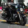Motorcycle Office Steve Ketchum led Newtown Police Department, and the parade, on Monday. (Gorosko photo)