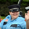 Katherine Will of Sandy Hook Volunteer Fire Department was celebrating her 21st birthday at this year's Newtown Labor Day Parade. (Crevier photo)