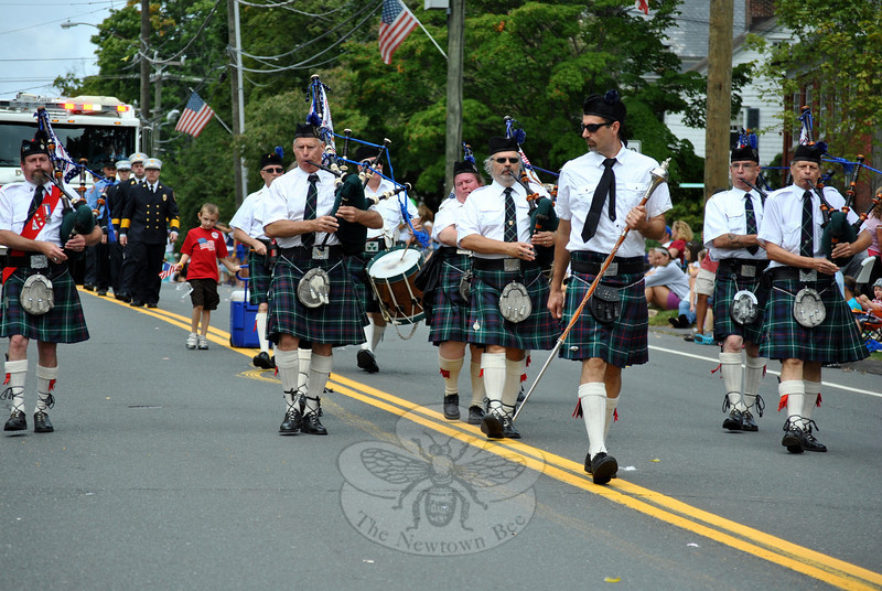 The Taggert Pipes and Drums at this year's Newtown Labor Day Parade. (Crevier photo)