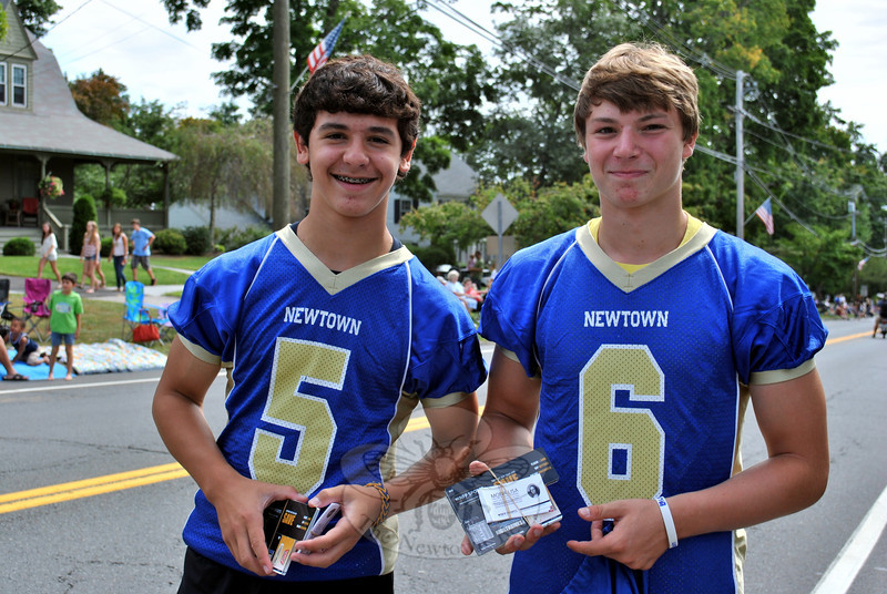 Newtown High School freshman football players Matt Elias and Jared Pearson at this year's Newtown Labor Day Parade. (Crevier photo)