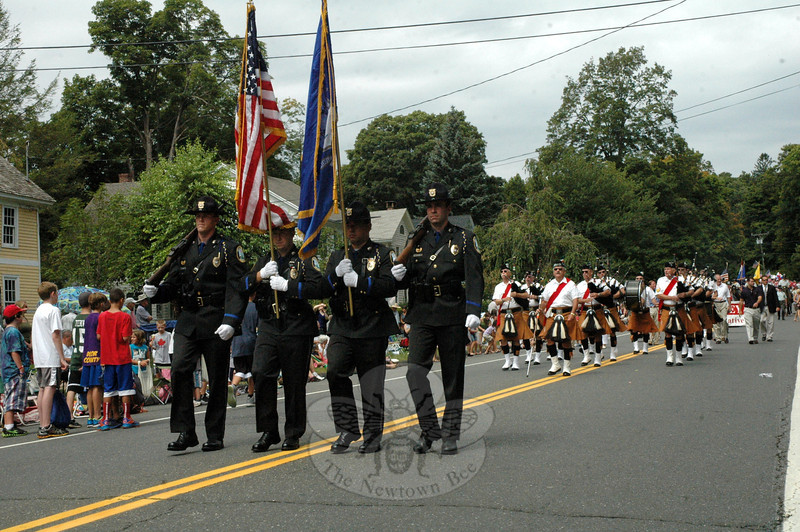 The Newtown Police Department's Honor Guard made its Labor Day Parade debut this year. (Gorosko photo)