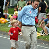 Democrat Chris Murphy had an impromptu dance with his son during this year's Newtown Labor Day parade. (Crevier photo)