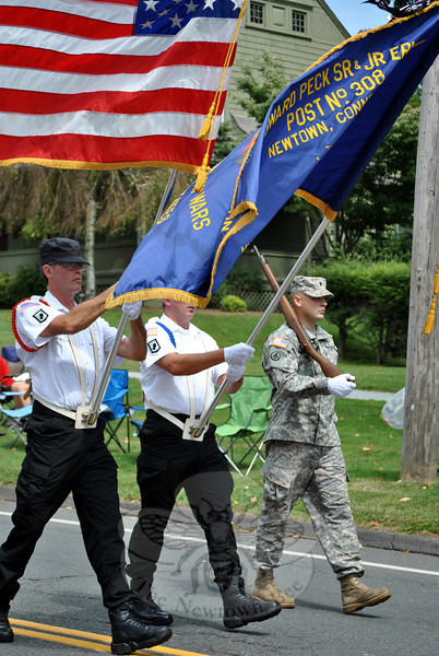 The VFW Honor Guard at this year's Newtown Labor Day Parade. (Crevier photo)