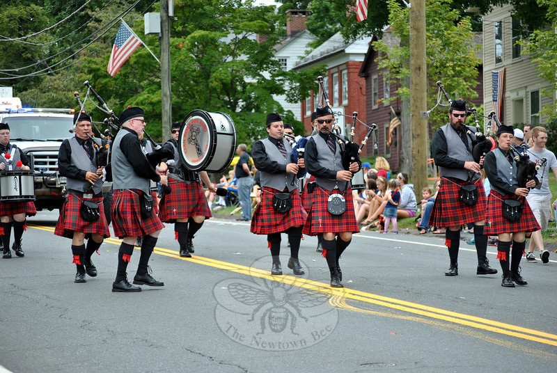 The Clan Ross Pipe Band at this year's Newtown Labor Day Parade. (Crevier photo)