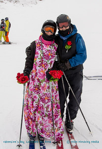 Valentine's Day, 2016, and couples partaking in the mass celebration at Loveland Ski Area.