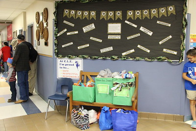 The students at County Line collected donations to send to the troops with the help of the resident Boy Scouts.