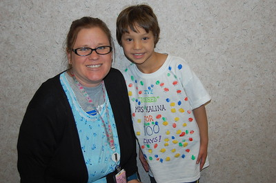Kinder teacher, Ms. Kalina with Carter Littrell