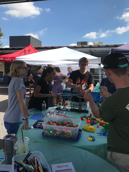 Katherine Seibert, Daniella DeLuca and Braden Goebel demonstrating Space Rails and Marble Run at the 2017 Science Fest