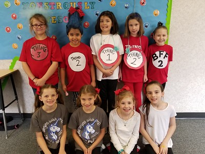 Memorial Elementary students Front Row Left to Right:  Peighton Stevens, Kirra Zolnierek, Averly Baker, Jenna Schmidt Back Row Left to Right:  Alys Berghofer, Naomi Castillo, Jade Hanley, Camdyn Peterson, Grace Fore