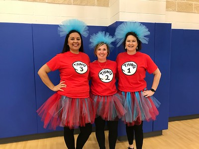 Voss Farms teachers dress up at Thing 1,  Thing 2 and Thing 3