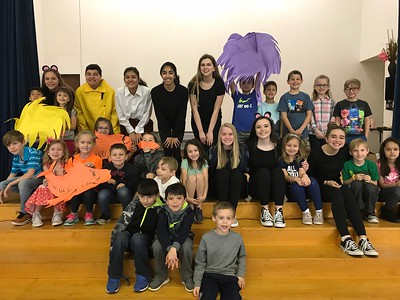 A group of Jennifer Forsythe's 9th grade theater students came to CLE on March 1st to perform The Lorax for read across America week and Dr. Seuss's birthday. Pictured here with Mrs. Anaya's first grade class.