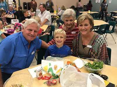 Tyler Erben enjoys lunch with his Grandfriends and Great-Grandfriend at Memorial Elementary.