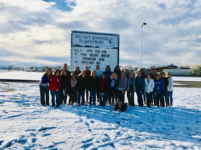 Walnut Springs Elementary staff enjoys the snow on Friday, December 8, 2017!