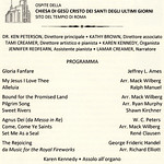 Rome - Program for the Southern Utah Heritage Choir Concert at the Rome Temple