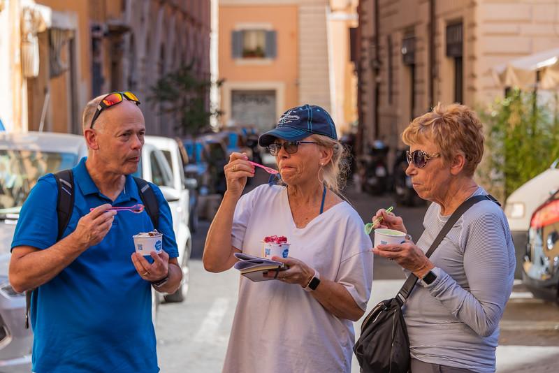 Rome - Ken, Kaye & Anita Enjoying a Gelato at the Piazza Navona
