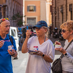 Rome - Ken, Kaye & Anita Enjoying a Gelato at the Piazza Navona