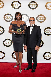 Dignity Health's June Collison accepted the award for the first corporate honoree. She is pictured with CDU President Dr. David M. Carlisle.