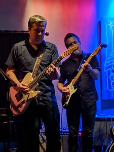 """Bob Welsh and """"Johnny Cat"""" Soubrand on guitar."""