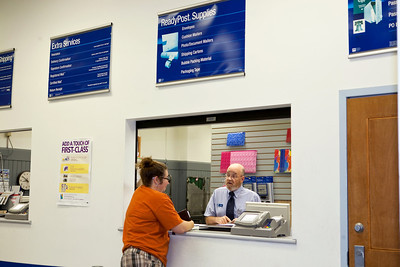 this photo was selected!  Arbie at the Post Office.