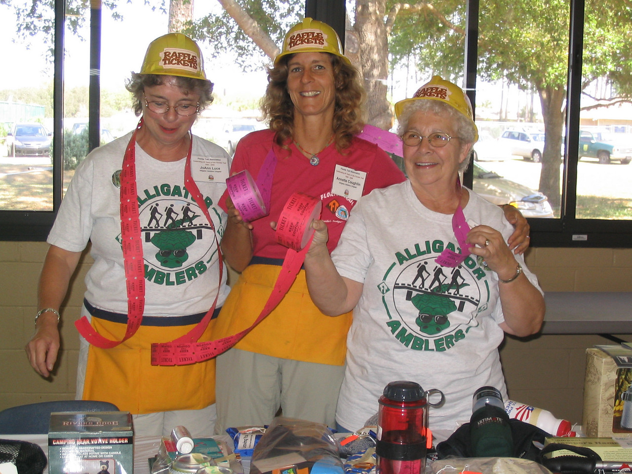 The Alligator Amblers sell raffle tickets: Joann Luce, Annette Coughlin, and Gerry Horner<br /> PHOTO CREDIT: Diane Wilkins / Florida Trail Association