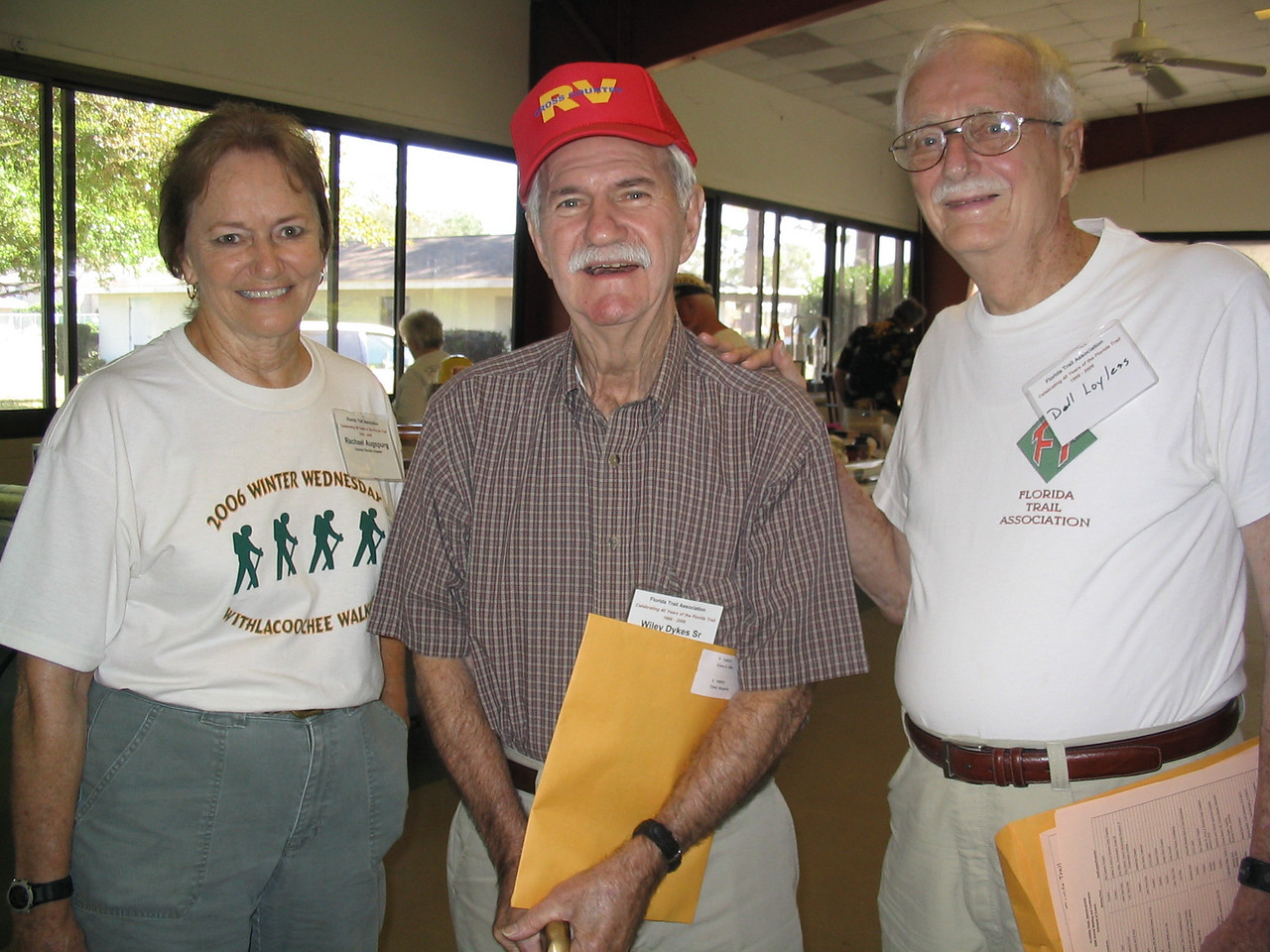 Rachael Augspurg and Del Loyless congratulate Wiley Dykes Sr., center, on his Presidential award<br /> PHOTO CREDIT: Diane Wilkins / Florida Trail Association
