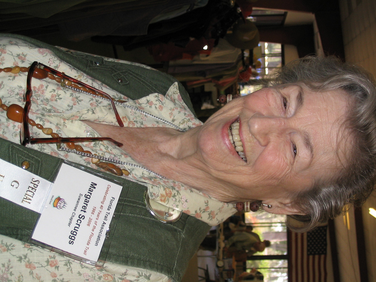 FTA's first employee and one of the founding members, Margaret Scruggs<br /> PHOTO CREDIT: Diane Wilkins / Florida Trail Association